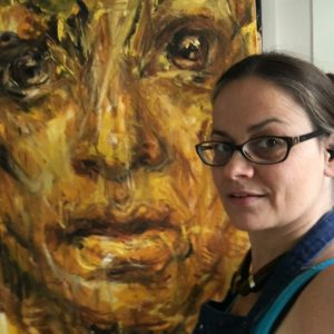 Judy in the studio with Enlightenment painting